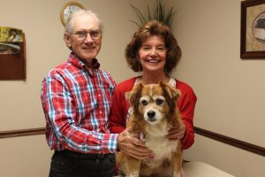 Brittany Spaniel Mix dog sitting on exam table with owners, Mr. and Mrs. Roethele standing behind