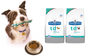Dog with toothbrush in mouth and T/D food